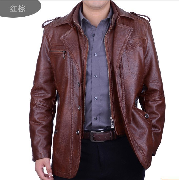 Free shipping 2016 Sell like hot cakes brand men's clothing high-grade sheep skin double brought leather jacket M/3XL(China (Mainland))