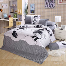 100% Cotton 4 pieces bed linen mickey and minnie kids mouse bedding sets white and black duvet cover set king/queen/twin size(China (Mainland))