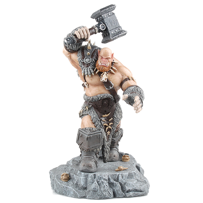 World of craft Orgrim PVC Action Figure 26cm WOW Version of the orc leader Orgrim Doomhammer statue kids toys with gift box