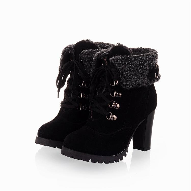 Womens Black Lace Up Ankle Boots - Cr Boot