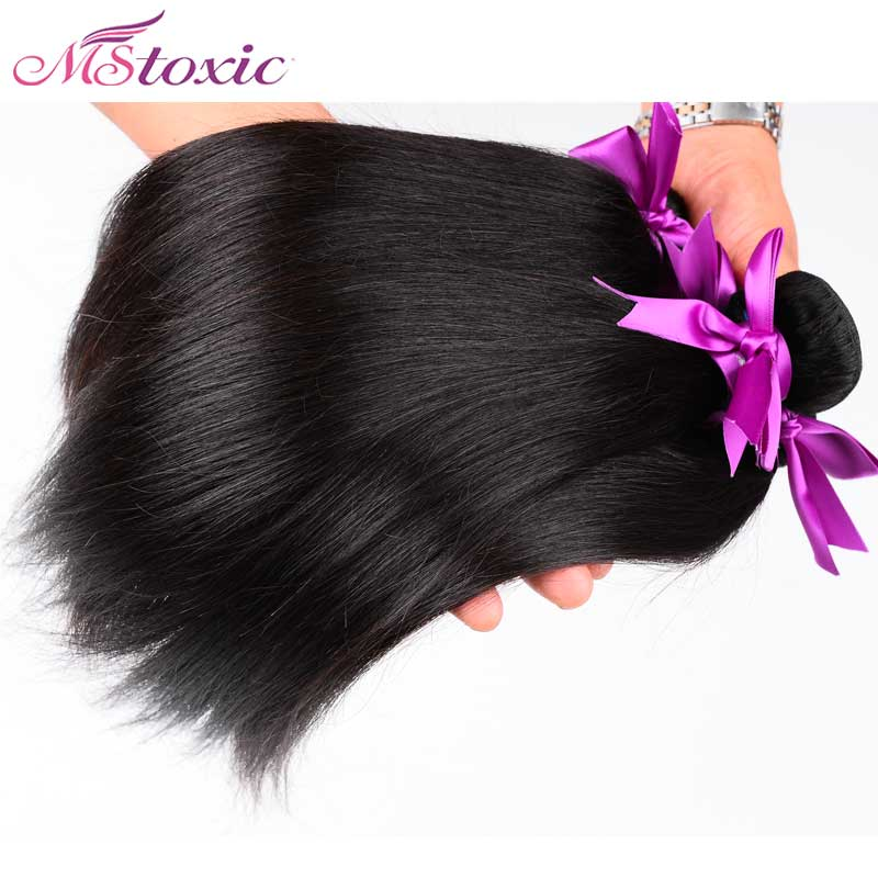 Mstoxic Remy Hair Straight 100% Brazilian Hair Weave Bundles Human Hair Weft Natural Color Free Shipping