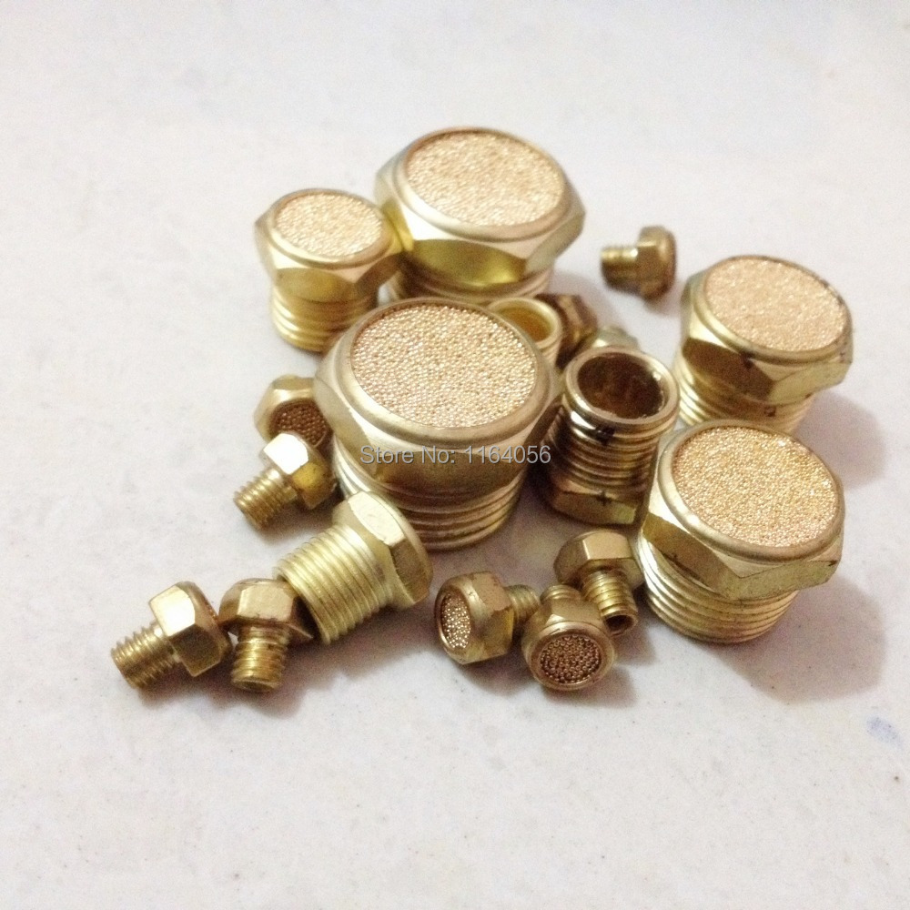 "Lot10 Pair 1/4""NPT Male Pneumatic Muffler Filter Sintered Bronze Silencer Vent Brass(China (Mainland))"