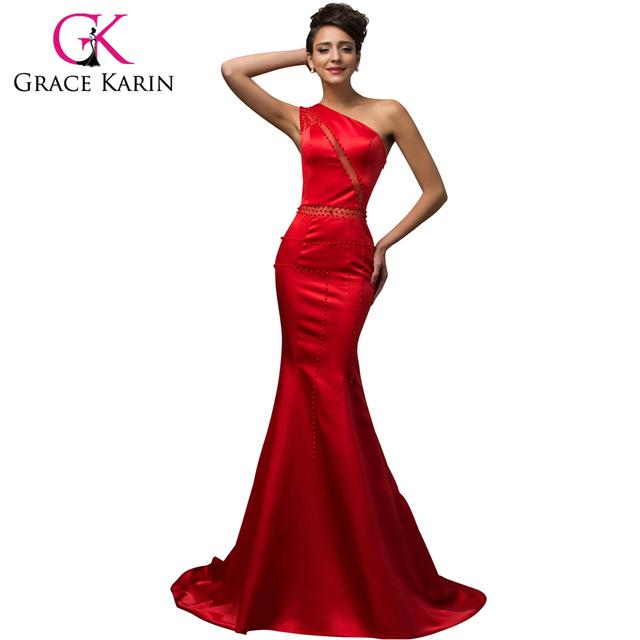 Потрясающие вечерние платья одно плечо атласная длинные красные платья элегантный ...