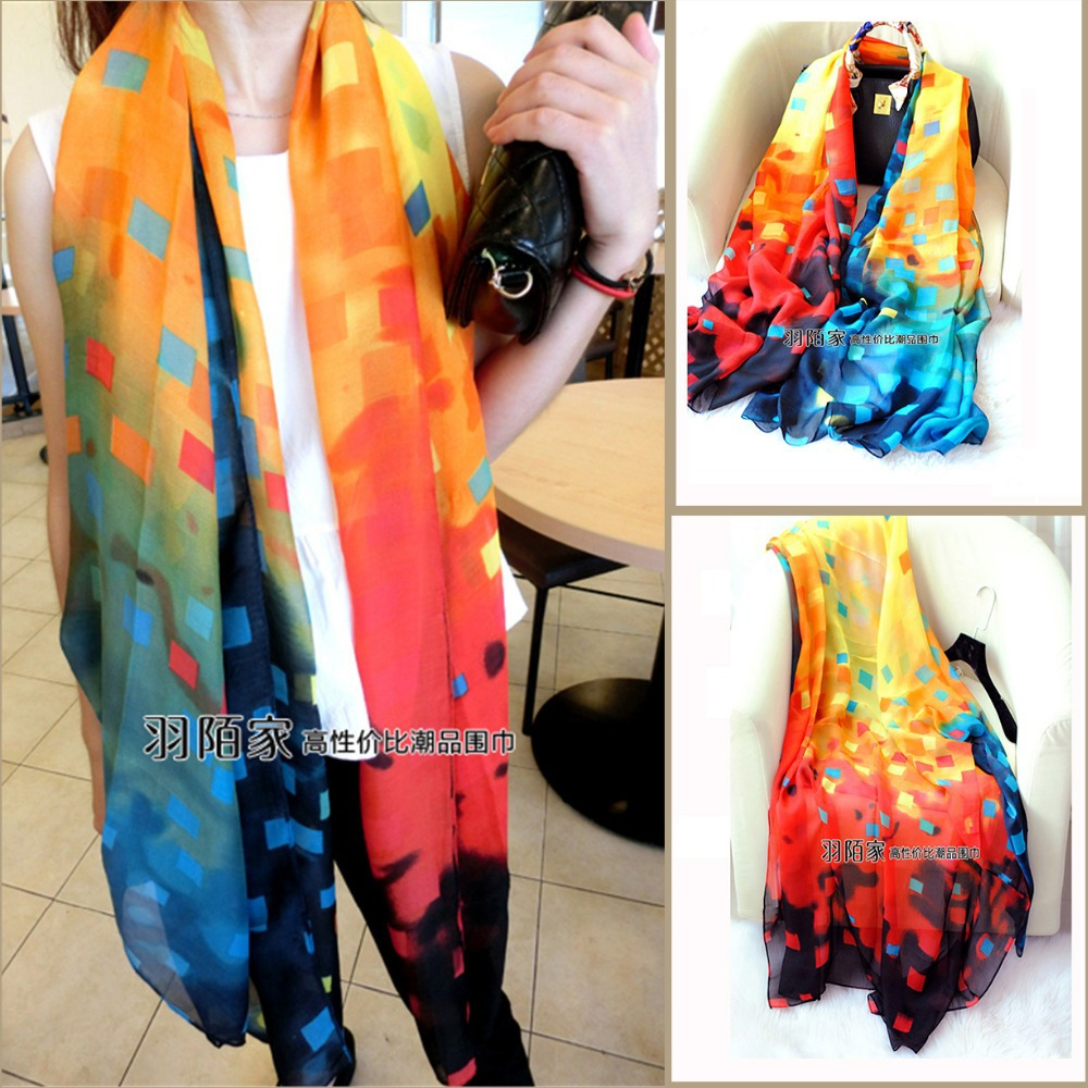 Free Shipping 2015 New Style Classic Plaid Women Orange Long Scarf Contract Color Extra Large Shawl Wrap Colorful Beach Wrap(China (Mainland))