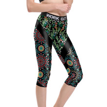 Buy Women Floral Black Stripes Fitness Quick Dry Workout Leggings Unisex High Waist Knee Length Aerobic Exercise Pant Full Size for $14.99 in AliExpress store