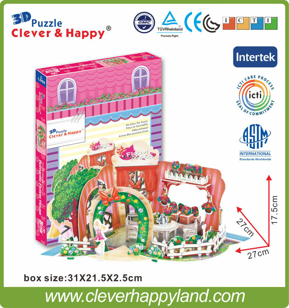 romantic flower shop 3d jigsaw puzzle hot product 2014 new design diy doll house(China (Mainland))