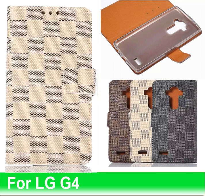 60pcs Free Shipping Best Selling Luxury Flip Stand Cover Card Holder Grid PU Leather Cases For LG Optimus G4 Mobile Phone Bags(China (Mainland))
