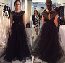 2015 simple elegant evening gown new fashion Formal Dresses sweetheart floor length long tulle black bead prom dress party Dress(China (Mainland))
