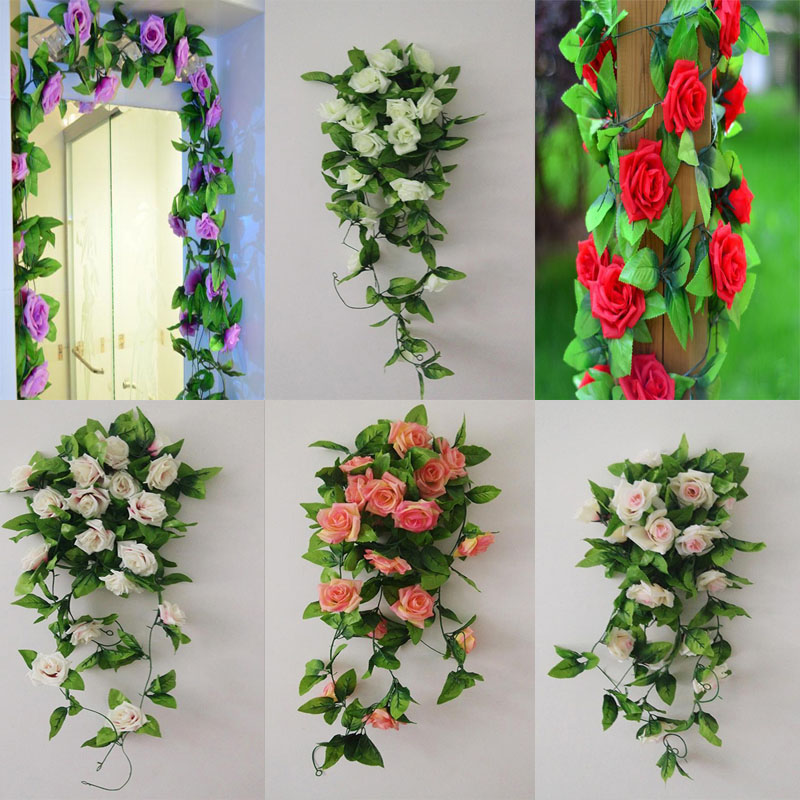 Fashion Artificial Rose Flower Ivy Vine Leaves Hanging Festival Home Decor Wedding Rattan Fake Plant(China (Mainland))