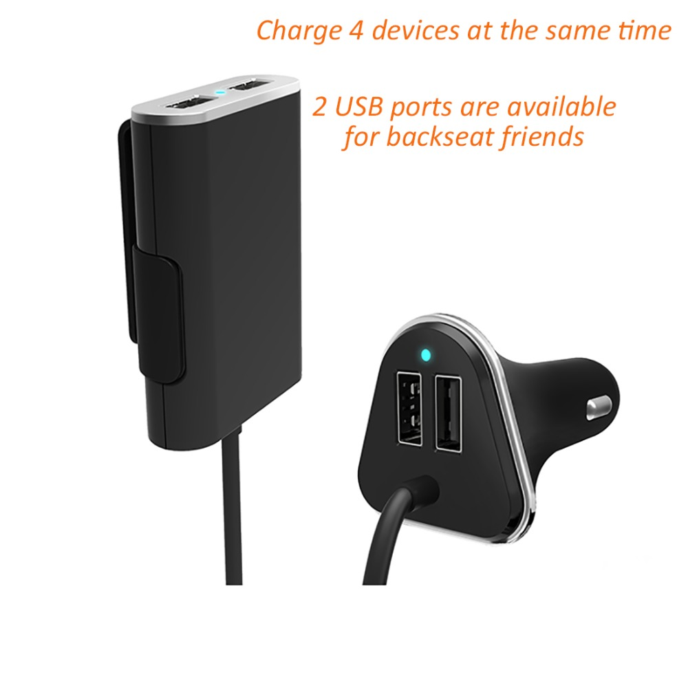 Universal 4 Port USB Car Charger Front and Back Seat Iphone Chargers Adapter 48W 9.6A with 6 Feet Extension Cable(China (Mainland))
