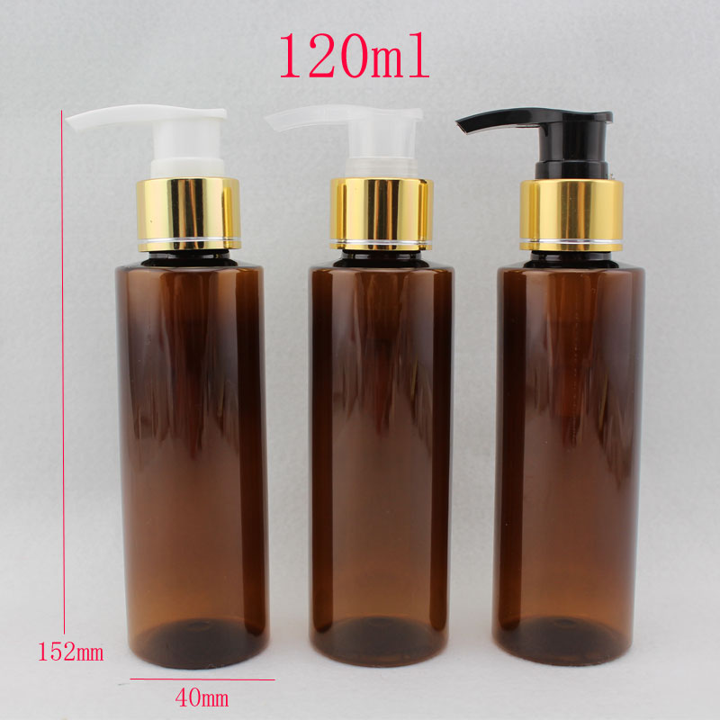 120ml x 40 empty shampoo pump cosmetic lotion bottle with gold aluminum collar 120g makeup setting spray lotion bottle container<br><br>Aliexpress