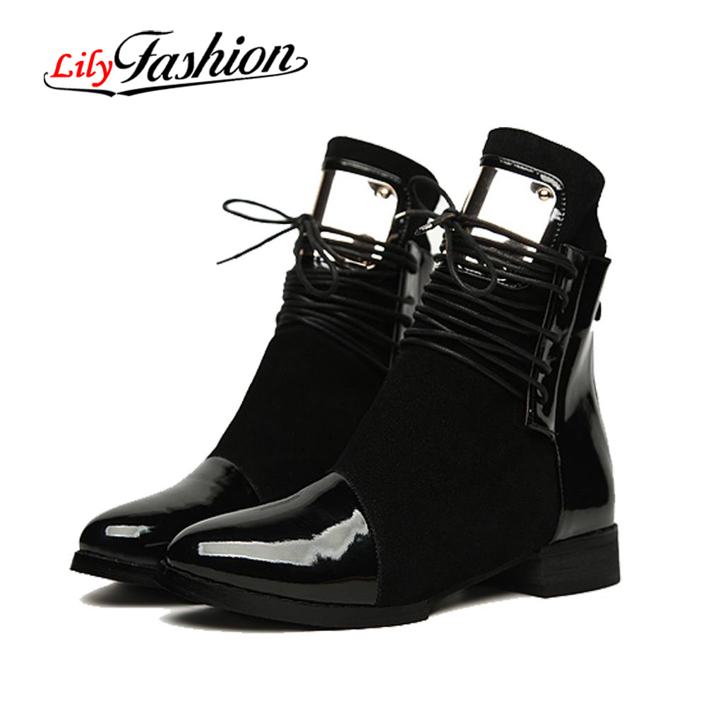 35-43 Women Boots Genuine Leather Flat Martin Ankle Boots Womens Motorcycle Boots Autumn Shoes Women Winter leather Botas AS0217