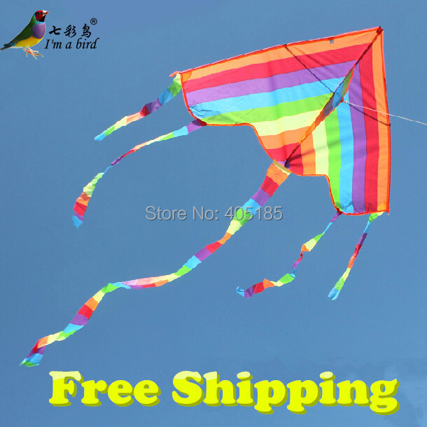 Free Shipping Outdoor Fun Sports Factory Outlet Children Triangle Color Kite With Flying Tools Easy To Fly(China (Mainland))