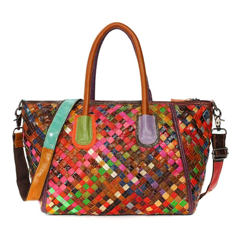 Genuine Leather Bags Weave Handbags Lady Women Shoulder Messenger Crossbody Bag Colorful Luxury Large Random Top-handle Totes
