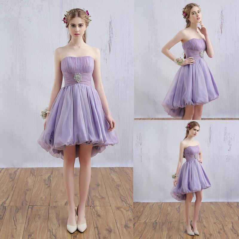 2016 new light purple prom party sweetheart knee length for Purple dresses for weddings knee length