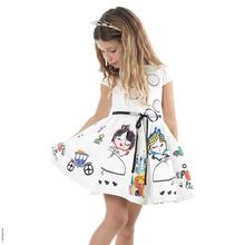 Venta al por menor 2016 nuevas muchachas de la ropa 100% algodón lindos dibujos animados de blanco vestido de la historieta de la princesa de la muchacha(China (Mainland))