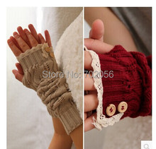 2016 solid Lace knitted Fingerless Gloves Ballet Dance button glove burn out long Arm Warmers  Fashion 7 colors #3706(China (Mainland))