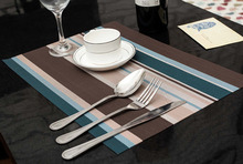 4 Pcs Blue Stripe Adiabatic Placemat Mat Protector Dining Table Decoration H03444(China (Mainland))