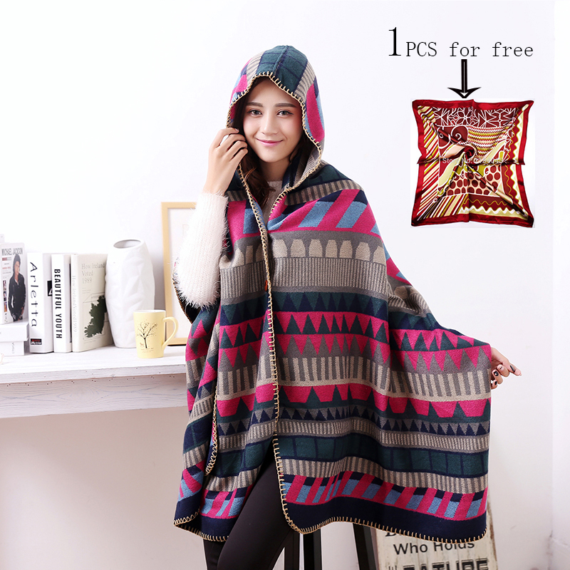 2016 New Brand Women's Winter Poncho Wool Blend Blanket Women Shawl Fashion Scarf Poncho S-007(China (Mainland))