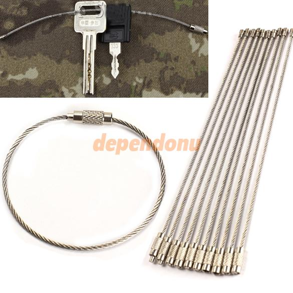 10PCS Stainless Steel Wire Keychain Cable Key Ring for Outdoor Hiking High Quality Free Shipping(China (Mainland))