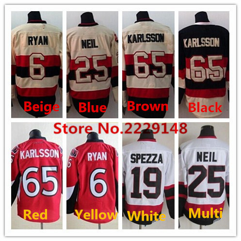 Mens #6 Bobby Ryan Cream #19 Jason Spezza #25 Chris Neil #65 Erik Karlsson Red Cream White Black Hockey Jersey(China (Mainland))