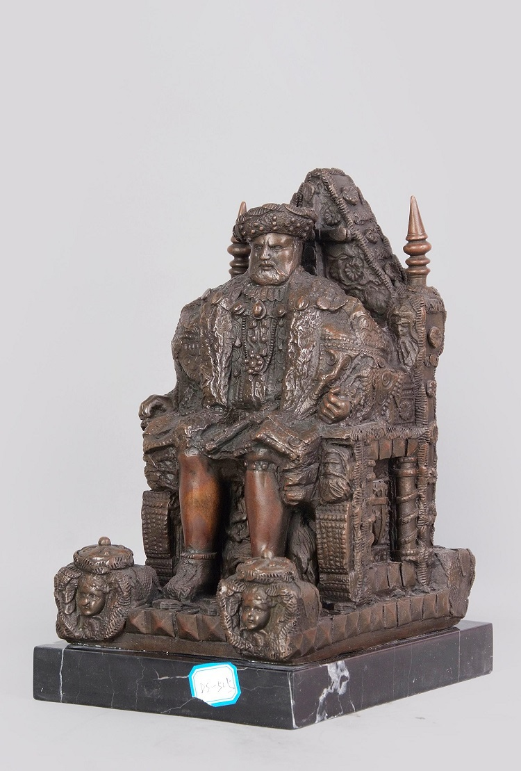 Classical Antique Bronze Sculptures Figurine Old Man Statue Tribal Leader Vintage Home Decor