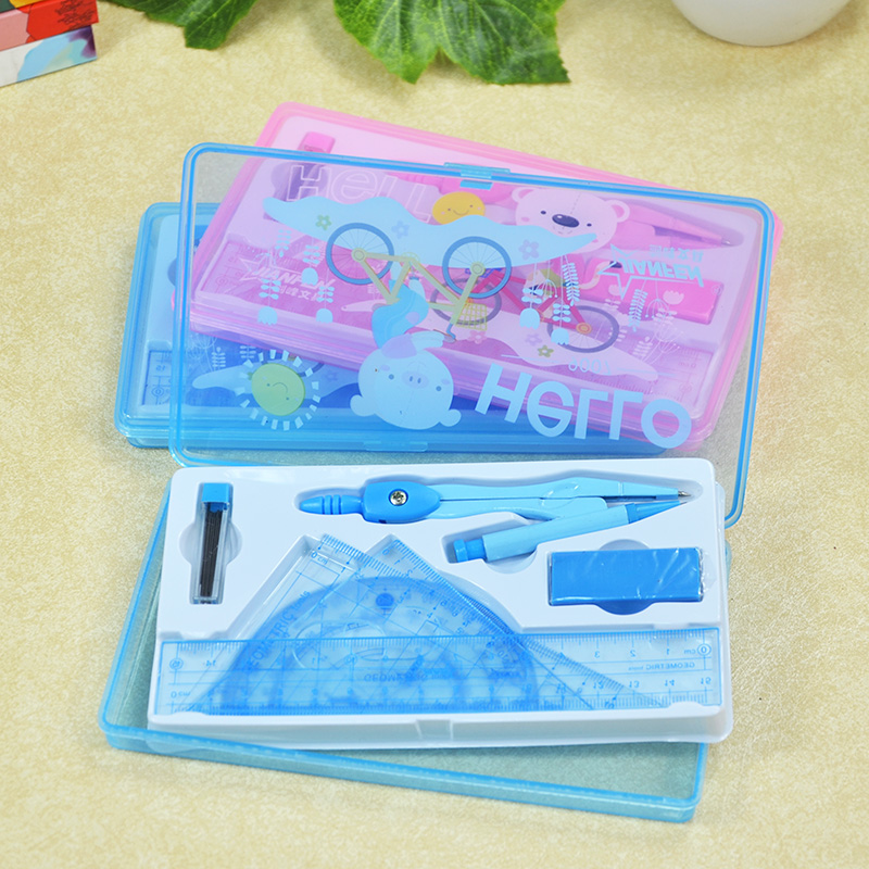 Japan and South Korea stationery ruler compass teaching drawing board sets foot pupils prizes school supplies divider(China (Mainland))