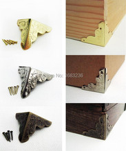12X Decorative Antique Brass Golden Silvery Jewelry Wine Gift Box Wooden Case Chest Edge Cover Corner Protector Guard 25mm+Nails(China (Mainland))