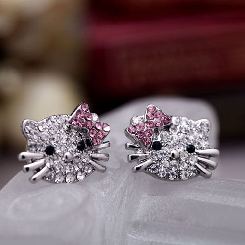 Beautifully designed fashion hot super cute Hello Kitty cute little kitty earrings for women(China (Mainland))
