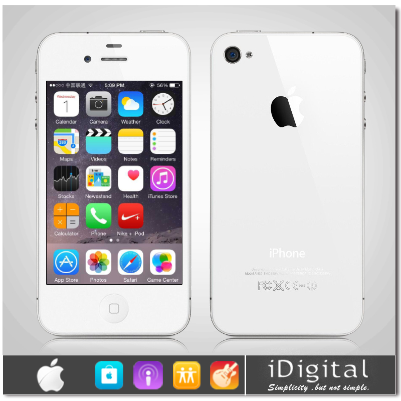 """Original Apple iPhone 4 Unlocked Cell Phone 16GB/32GB IOS 7 3.5""""IPS 960*640px 1.0GHz 5.0MP 3G WIFI GPS Brand Mobile Phone USED(China (Mainland))"""