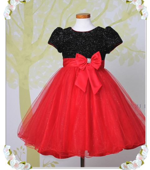 Hot sale red black flower girl dress gowns for wedding for Red and black wedding dresses for sale