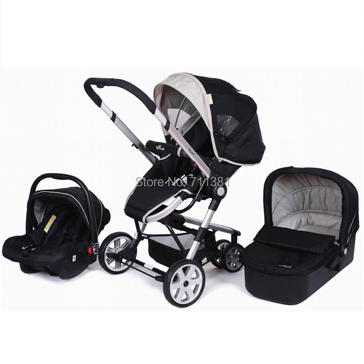 Free Shipping Best Service Baby Pushchair 3 in 1 High Quality Baby Stroller 3 in 1 with 5 Position Reclining Seat Baby Buggy(China (Mainland))
