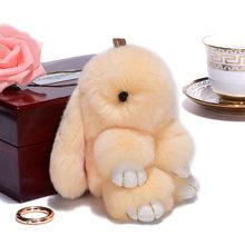 Simulação de 15 CENTÍMETROS Pluff bonito chaveiro coelho Rex pele de coelho keychain ladies bag toy boneca fluffy Pom Pom bonito pompom keychain(China)