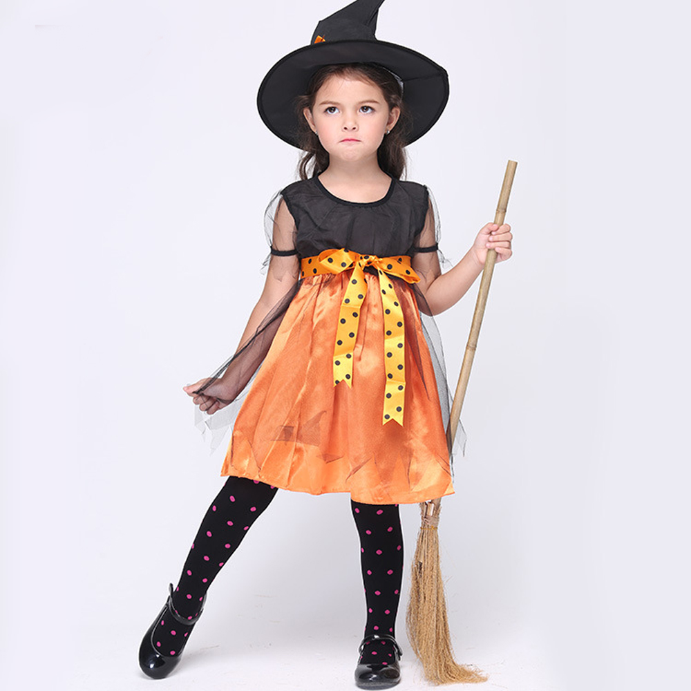 3-9T Girls Witch Orange Dot Princess Dresses with Cap 2016 Halloween Costumes Cosplay Anime Role Play Sorceress Dress Suits Kids(China (Mainland))