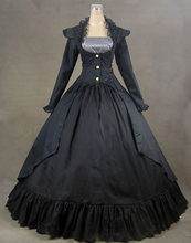 Black Gothic Cotton Victorian Ball Gown  Vintage Dress