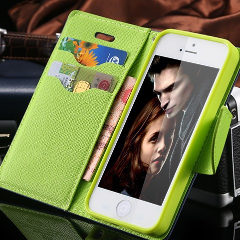 For iPhone 4S Cases New Affordable Hit Color Leather Ultra Flip Case For iPhone 4 4S 4G Card Holder Stand Cover Mobile Phone Bag(China (Mainland))