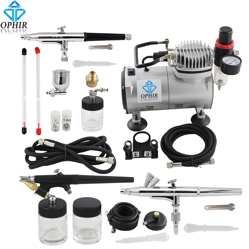 OPHIR 0.3mm 0.35mm 0.8mm Professional 3-Airbrush Air Compressor Kit for Hobby Cake Decoration Tattoo#AC089+071+073+074<br><br>Aliexpress