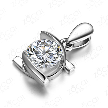 ZOCAI  EMBRACING LOVE 0.24 CT CERTIFIED DIAMOND SOLID 18K WHITE GOLD PENDANT +925 STERLING SILVER CHAIN NECKLACE