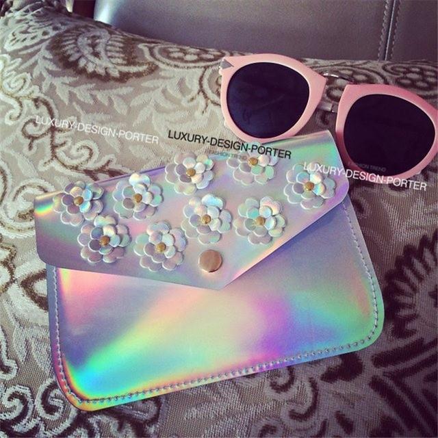 Горячая дизайнер голограмма цветочный мини сумка элегантный сумки кошелек Bolsa