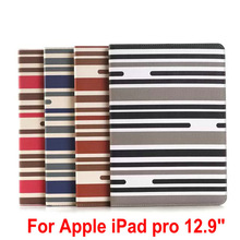 New Fashion Auto Wake/Sleep Classic leather case For Apple ipad Pro case 12.9 stripe pattern stand book cover for ipad pro cover(China (Mainland))