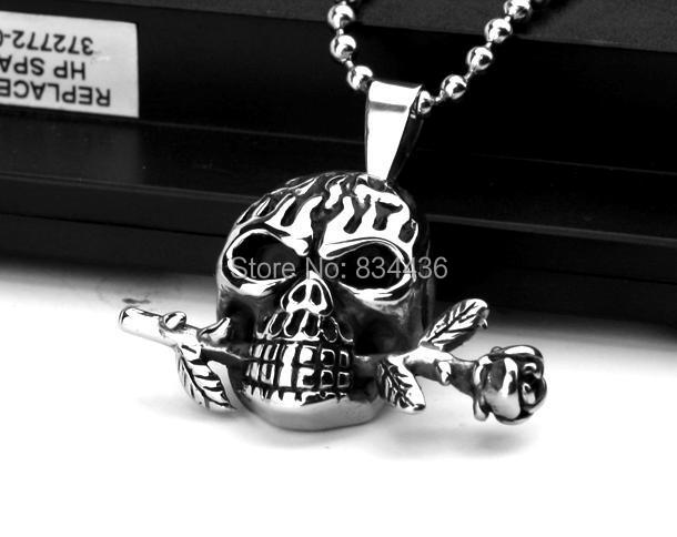 316L stainless steel skeleton skull pendants chains necklaces men boy's gift free 60cm ball chain - Fashion LuLu Jewelry Factory store