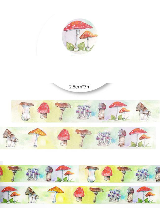 1Roll=25mmx7m High Quality Mushroom Pattern Japanese Washi Decorative Adhesive Tape DIY Masking Paper Tape Label Sticker gift<br><br>Aliexpress