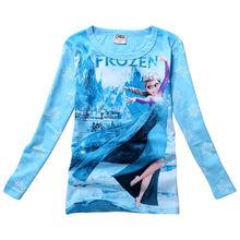 Queen Elsa Anna Kids Girls Long Slevee T Shirt Cotton Tops