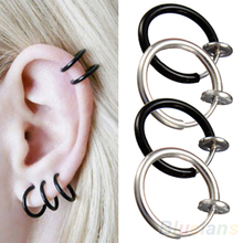 Clip on Hoop Boby Nose Lip Ear Piercing  Earrings Punk Goth Septum for Men 02IE 2W5K(China (Mainland))