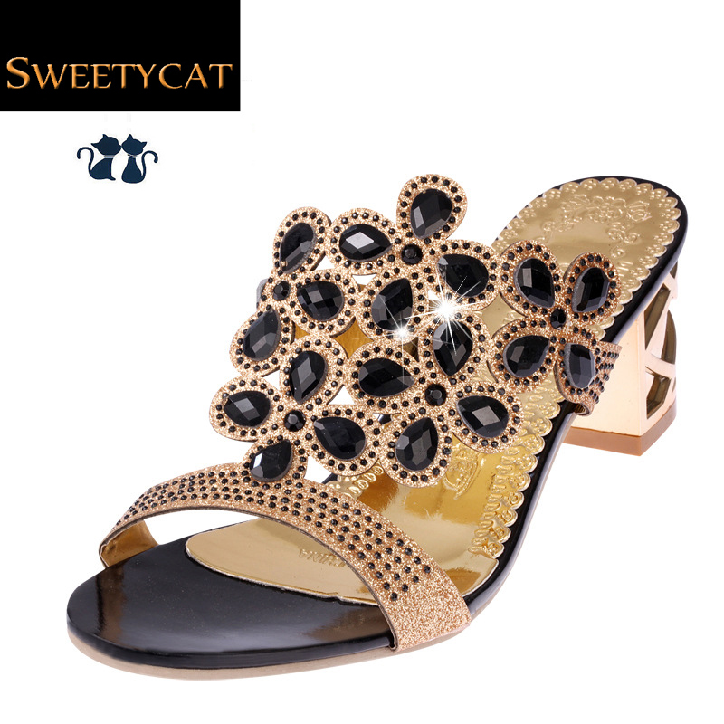 Size 35-41 New 2016 Summer Fashion Women Big Rhinestone Cut-outs High Heel Sandals Ladies Party Shoes Woman Beach Slides L35(China (Mainland))