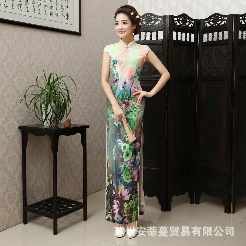 2016 Fashion Chinese Dress Qipao Long Cheongsam Dress Sexy Robe Orientale Dresses Casual Qi Pao Chinese Traditional Dress(China (Mainland))