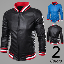 New 2015 color block rib stand collar and buttom leather jacket men slim fit jaqueta de couro masculina men's clothing /PY13(China (Mainland))