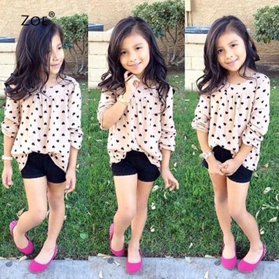2015 Autumn Baby Girls Clothing Set Heartshaped Print Children Sport Suits Dot Tshirt+Harem Pants High quality Fashion Clothes(China (Mainland))