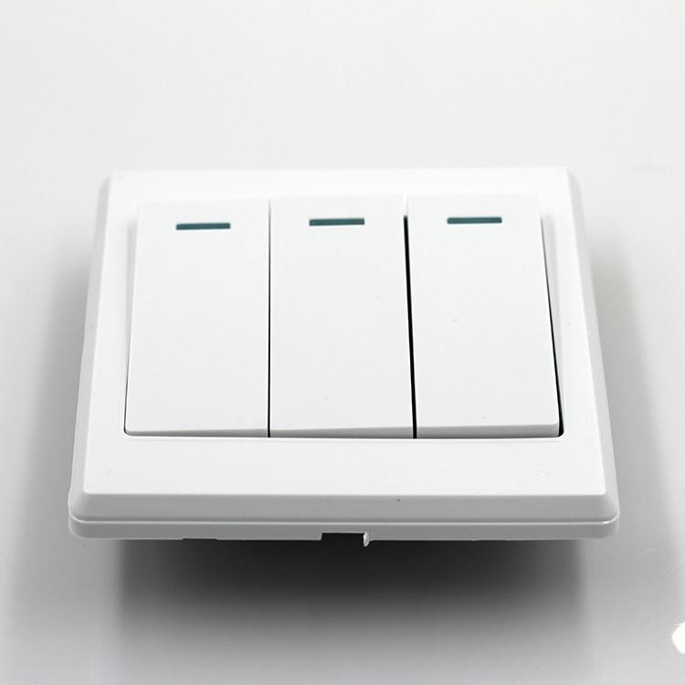 2017 New Universal 10A Power 3 Gang Wall Plate Light Bulb Push Button Switch Plug Sockets(China (Mainland))