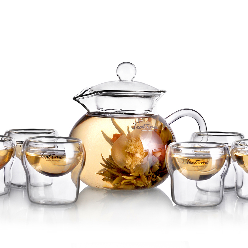 Teatime herbal tea 1 pot 6 cup combination set classic LLADRO floweryness tea exquisite glass teacup